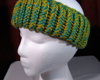 Women's teal and yellow ear warmer