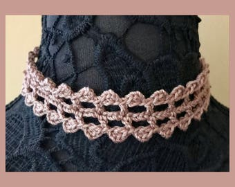 Lace Wrap Choker or Headband - Handmade Crochet - Salmon Tan Nude Pink - Item N59