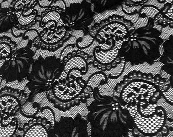 "Black Stretch Lace Fabric Floral Embroidery Poly Spandex 58"" Wide BTY Wedding Apparel Victoria"