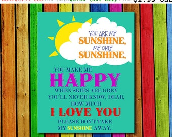50% Off You Are My Sunshine Wall Art You Are My Sunshine Lyrics My Only Sunshine Playroom Decor Girls Wall Art Teen Room Art (PCP57)