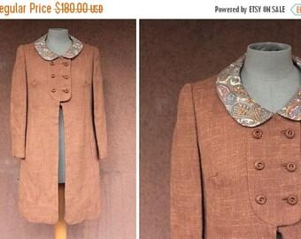 Summer Sale SALE! 1960's Brown Wool English Coat - 1960's English Coat Pelsay Collar - Size S