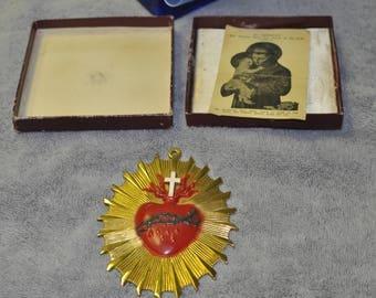 Vintage Sacred Heart Funeral Medallion