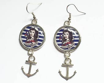 Metal sea themed earrings