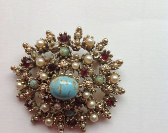 Vintage Large Faux Turquoise Brooch