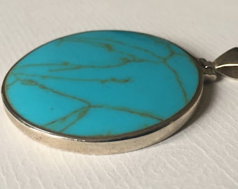 Vintage 1970s Large Circle Simulated Turquoise Silver Pendant/925 Silver
