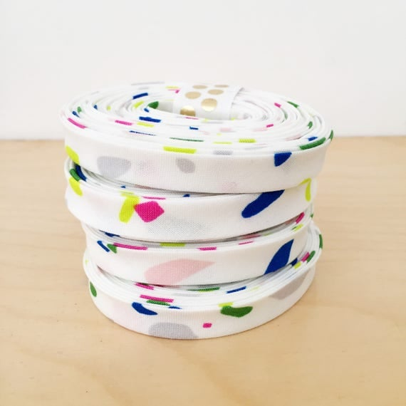 "Bias Tape in Cotton + Steel Snap to Grid Terrazzo cotton 1/2"" double-fold binding- Neon 80's print- 3 yard roll"