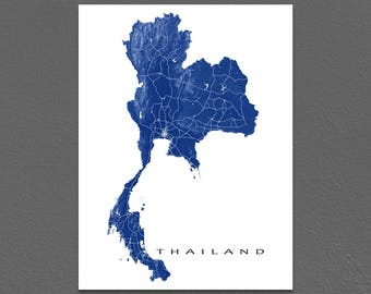 Thailand Map Art, Thailand Print, Asia Country Maps, Bangkok