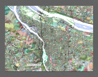 Portland Art, Portland OR, Oregon, USA Map Print, Wall Decor