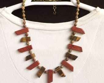 Stone Fan Necklace Red Jasper Tiger Eye Necklace Beaded Gemstone Statement Necklace Beaded Bib Necklace Tribal Boho Necklace Bold Necklace