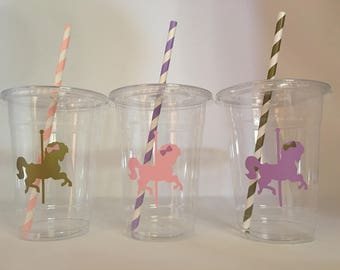 Carousel Party Cups, Horse Party Cups, Carousel birthday party cups