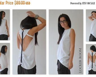 ON SALE White Party Top /White Tank Top/White backless Top / Extravagant Backless Top /Open Back /Extravagant top/Backless White top