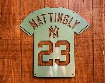 Metal Yankee Baseball Jersey - New York - Don Mattingly - Powder Coated, CNC Cut