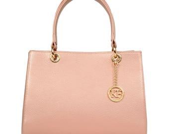 Leather Top Handle Bag, Beige Leather Handbag Top Handle, Women's Leather Bag KF-1080