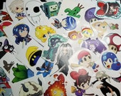 50 Miscut / Misprinted Stickers Lot - Anime and Video Game Character Art Sticker Pack assortment