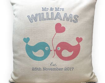 Wedding Cushion Cover Pillow Cover Personalised Mr and Mrs Love Birds - Anniversary Vintage Style Gift - Home Decor Decoration