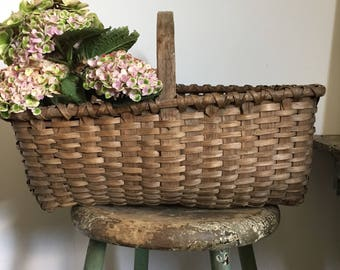 Antique Gathering Basket Handmade Splint Basket with Handle Country Decor Primitives Early Basket