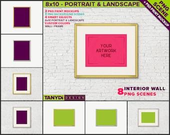 Thin Gold & Silver Frame W3 | 8x10 Print Mockup | 8 PNG scene | Empty Portrait Landscape Frame on Wall