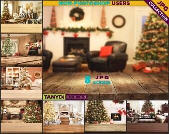Empty Table Top LRT-C3 | Christmas Wood Table Styled Scene | 8 JPG Xmas Living Room Blur Background | Table Scene Creator