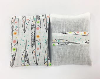 Lavender Sachets for Drawers, Gray and White, Sachets, Feathers