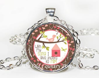 Psalm 28:7 Bible Verse Glass Pendant Necklace with Chain-Easter Gift,Mother's Day  ,Friend Gift,Religious