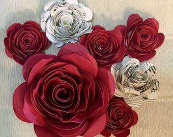 Paper Roses, Hand-Rolled | Table Decorations | wedding decorations | paper flowers | FREE SHIPPING