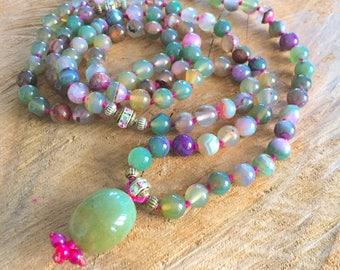 Long beaded necklace, 108 beads mala, colorful purple boho necklace, zen boho necklace, elegant, sophisticated healing gemstone necklace