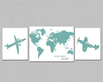 Airplane nursery printable art set, world map art set, kids room let your dreams take flight wall decor, custom colors art set, download