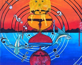 Music Never Stops / ART PRINT / Grateful Dead Inspired / Original Painting Print