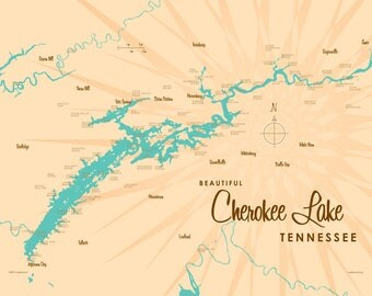 Cherokee Lake, TN Map - Canvas Print