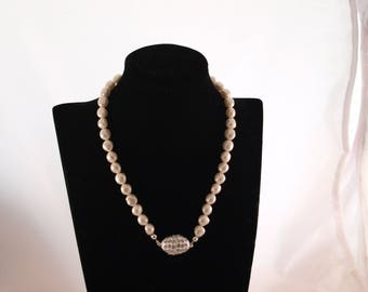 Handstrung cultured pearl necklace with silver plated diamante clasp
