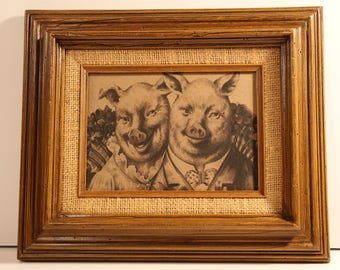 Pig Art // Pig Print // Pig Couple Print // Swine Couple Print // Hog Couple Print