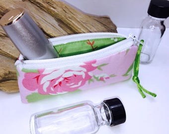Feminine Essential Oil Pouch, Lip Balm Case, Small Zipper Pouch, Lipstick Case, Essential Oil Bag, Doterra Oil Storage, Change Purse
