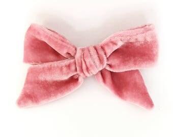 Vintage pink velvet oversized velvet bow
