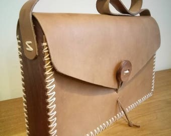 Wood and leather handbag