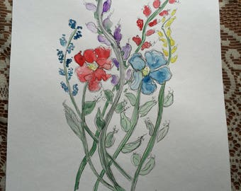 Original Watercolor and Ink Painting, Flower Painting, Watercolor Flowers