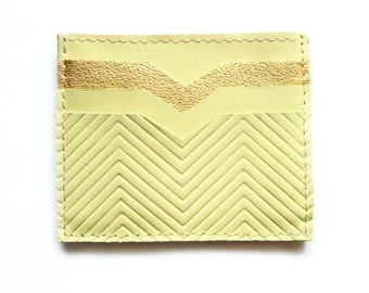 Yellow Golden Leather Wallet Credit Card Wallet Card Wallet Credit Card Case Gift Idea