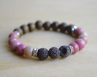 Rhodonite Bracelet / Essential Oil Diffuser Bracelet / Meditation Bracelet / Yoga Bracelet / Genuine Gemstone Bracelet / Gift for Her