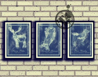Expecto Patronum - Harry Potter, Hermione Granger, Ron Weasley inspired Posters