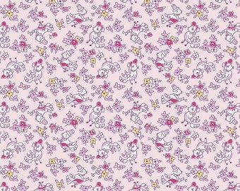 1 Yard Little Dolly by Elea Lutz for Penny Rose Fabrics 6363 Pink Birds