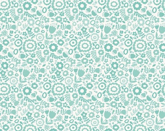 1 Yard Heart and Soul by Deena Rutter and Seek Good Works for Riley Blake Designs - 6701 Aqua Heart Floral