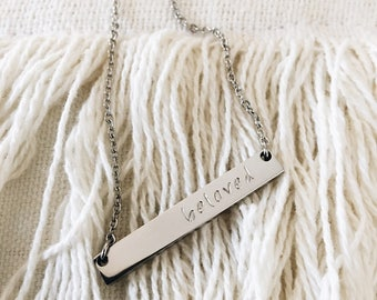Hand stamped bar necklace, beloved, silver, keepsake, sentimental