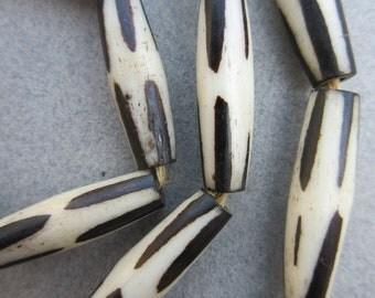 Batik Bone Pipe Beads (7x25-26mm) [67821]