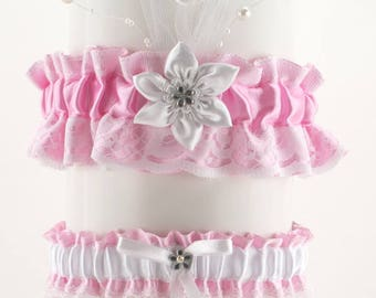 Wedding garter set, white and pink, lace garter in wedding, vintage, wedding lingerie, handmade garter is stretching, bride garter, puppy 5D