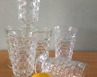 Lovely vintage set of six Indiana Glass Co Whitehall Colony footed clear geometric coolers / glasses for tropical Old Florida brunch!