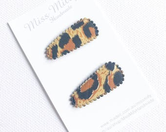 Leopard Print Baby Hair clips, baby snap clips, baby hair accessories, infant hair clips, toddler hair clips, toddler hair accessories