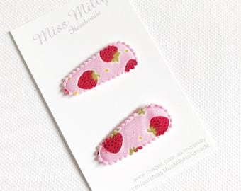 Pink Strawberry Baby Hair clips, baby snap clips, baby hair accessories, infant hair clips, toddler hair clips, toddler hair accessories