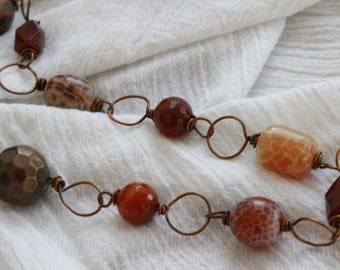 fire agate and copper necklace