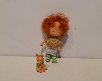 Vintage Strawberry Shortcake Cafe Ole Doll with her Pet Burrito the Donkey Kenner 1980 Doll