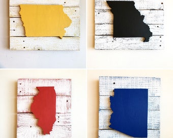 State or Country Maps- Set of 4- Choose Any States or Countries and Colors