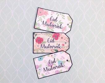 Eid Mubarak Tags - Set of 5 - Gift Tags - Eid- Ul- Fitr, Eid- Ul- Adha, Islamic Card, Muslim Greeting, Ramadan Arabic Calligraphy Eid Tags